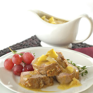 Calvados-Braised Pork Tenderloin Roast with Peppered Apple & Onion Gravy