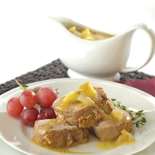Calvados-Braised Pork Tenderloin Roast with Peppered Apple & Onion Gravy.