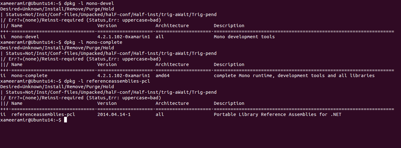 Verify mono-devel, mono-complete and referenceassemblies-pcl installation