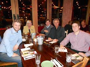 Photo: Nick Evans, 01, Cammie and Tim Vail, '68, Abbot Michael, Tim Huss, '06