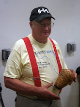 Photo: Bob Grudberg with his segmented marblewood hollow form.