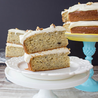 Banana Cake with Brown Sugar Cream Cheese Frosting.