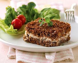 Photo: torta al forno di kibe (farina di farro) e formaggio in crema
