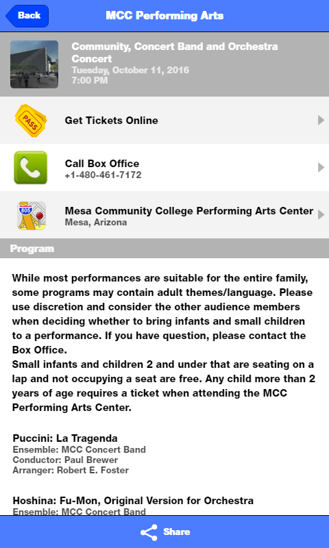 MCC Performing Arts Center- screenshot