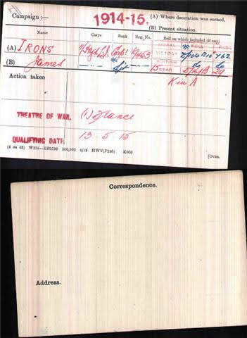 James Irons's Medal Index Card