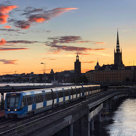 Stockholm at twilight by Rosemary Gamburg - City,  Street & Park  Skylines ( #stockholm #sweden #train #sunset #cityscape )