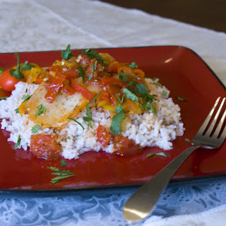 Poached Cod with Sweet Pepper and Tomato Recipe