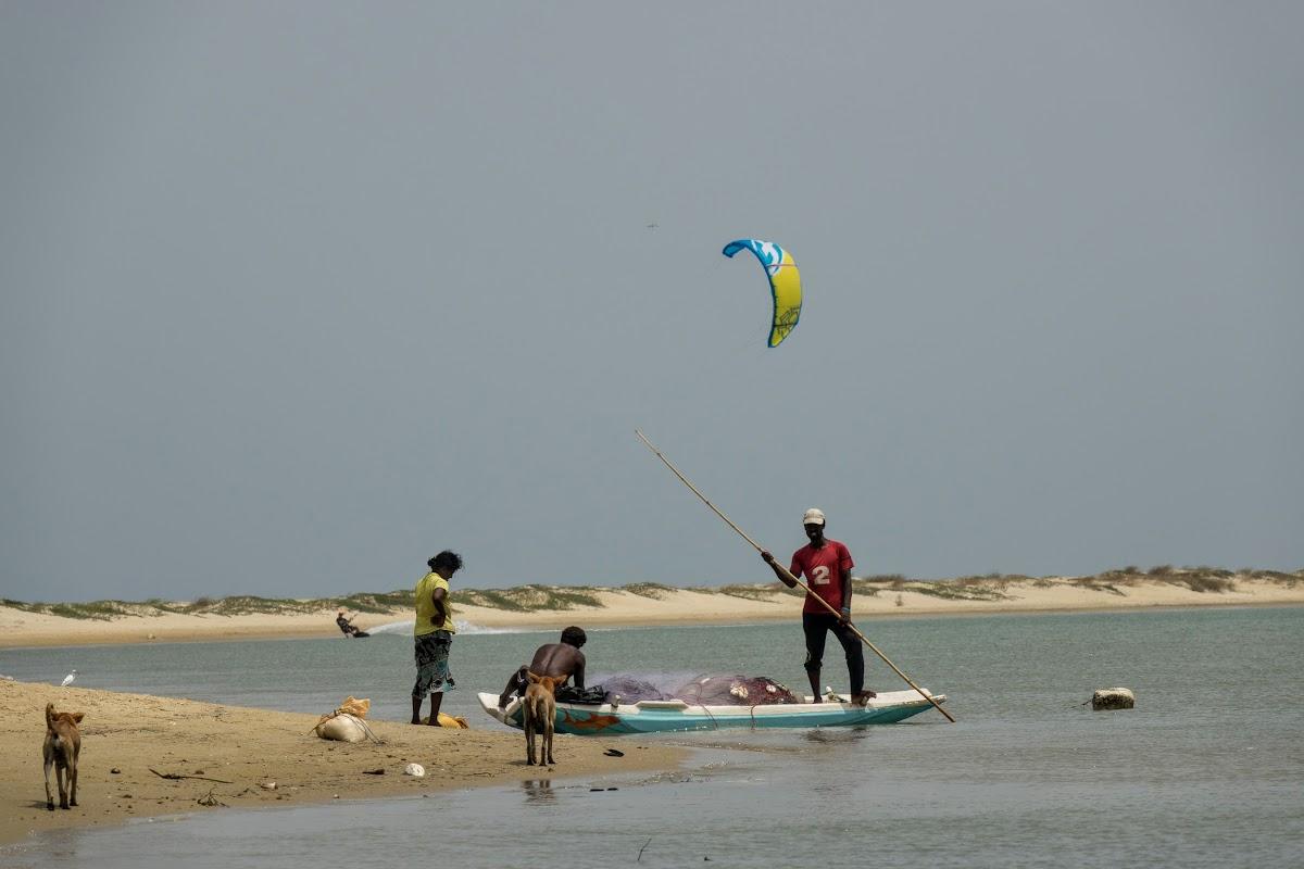 Sri. Lanka Kalpitiya Kiteboarding. Fishermen in Vellai Island