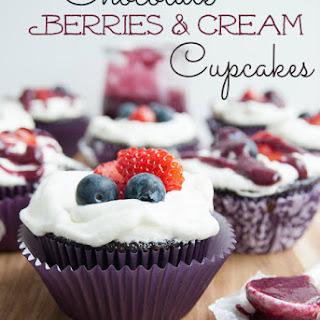 Chocolate Berries and Cream Cupcakes.