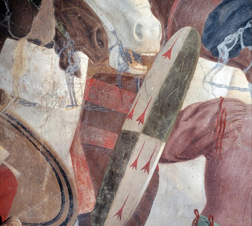 Piero della Francesca, Le Storie della Vera Croce, Battaglia di Eraclio e Cosroè, (particolare prima del restauro) Basilica di San Francesco, Arezzo