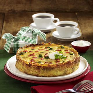 Broccoli and Gruyere Quiche with Potato Crust.