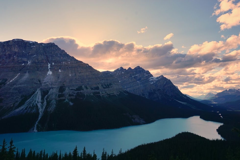 The internet famous Peyto Lake at sunset - Banff National Park, Canada