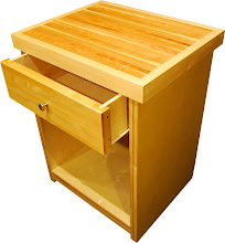 """Photo: Close up angled view of our smallest Kitchen Cabinet. With a maple and cherry cuttingboard top, this works great for all those kitchen projects. The 6.5"""" drawer right is great for keeping your chopping utinsils handy. With a Lifetime structural guarantee. Northwest Cedar with a natural Eucalyptus inlay and Birch sides. Built with the strongest lightweight Eco-Friendly furniture ever invented, guaranteed! Style: Contemporary Size: 20"""" Wide 32"""" Tall 20"""" Deep Drawer Size: 18"""" Wide 6"""" High 17"""" Deep Color: Natural Wood Veneer"""