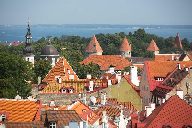 The charming cityscape of Tallinn, Estonia, recalls its medieval past.