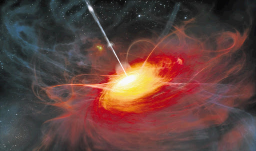 An artist's impression of ULAS J1120+0641, a distant quasar powered by a black hole with a mass two billion times that of the sun. It is seen as it could have been just 770 million years after the Big Bang