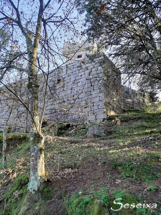 Vista del torreón y muralla defensiva