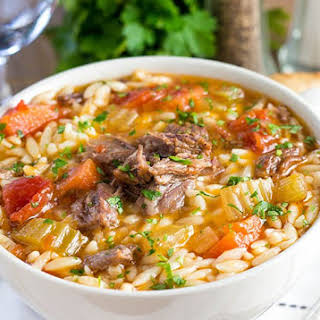 Slow Cooker Oxtail Orzo Soup.