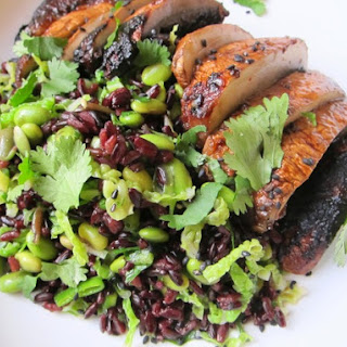 Miso-Charred Mushrooms and Black Rice Salad
