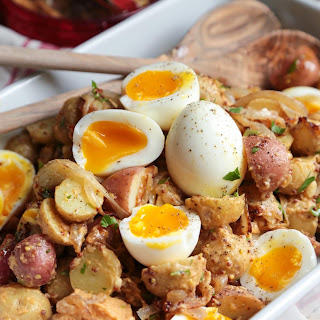 Caramelized Onion and Hummus Potato Salad with Soft Boiled Eggs
