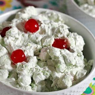 Pistachio Fluff Marshmallow Salad with Cherries.