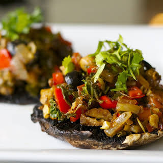 Stuffed Italian Portobello Mushrooms [Vegan].