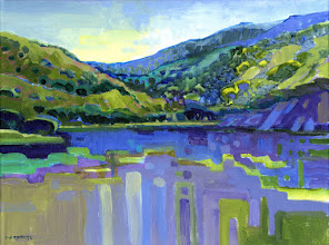 "Photo: ""Lake Del Valle"", acrylic on canvas 12"" x 16"", © Nancy Roberts"