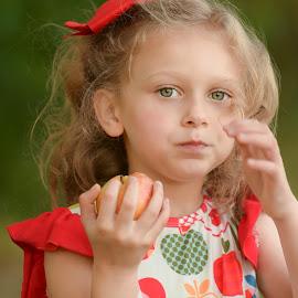 Apples by Marie Burns - Babies & Children Children Candids ( red, fall, girl, apples )