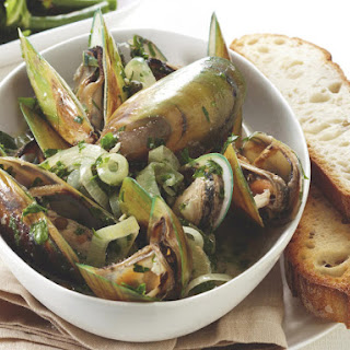 Steamed Mussels with Crusty Garlic Toast.
