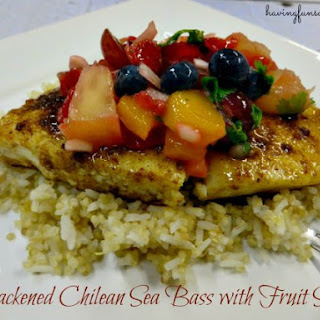 Blackened Chilean Sea Bass With Fruit Salsa.