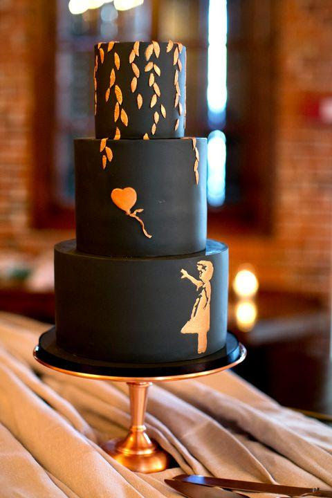 Black Wedding Cakes Are The Chicest New Wedding Trend - Delish.com
