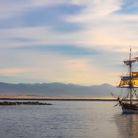 Morro Bay, 1847 by Richard Duerksen - Transportation Boats ( morro bay, bay, sails, schooner,  )