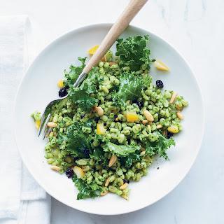 Lemony Barley Salad with Kale Pesto.