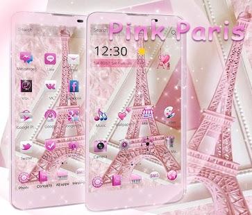 Theme Pink Paris Eiffel Tower screenshot