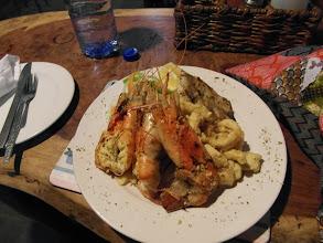 Photo: Dinner at Bamboozi - Prawns, Calamari, Fish Fillet, Chips and Salad