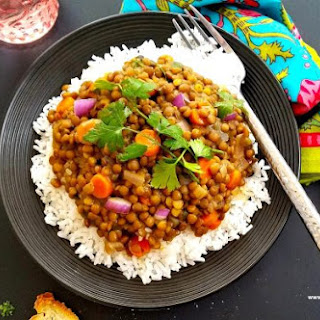 Quick Vegetarian Lentil Coconut Curry.