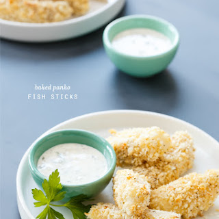 Baked Panko Fish Sticks with Lemon-Caper Mayonnaise