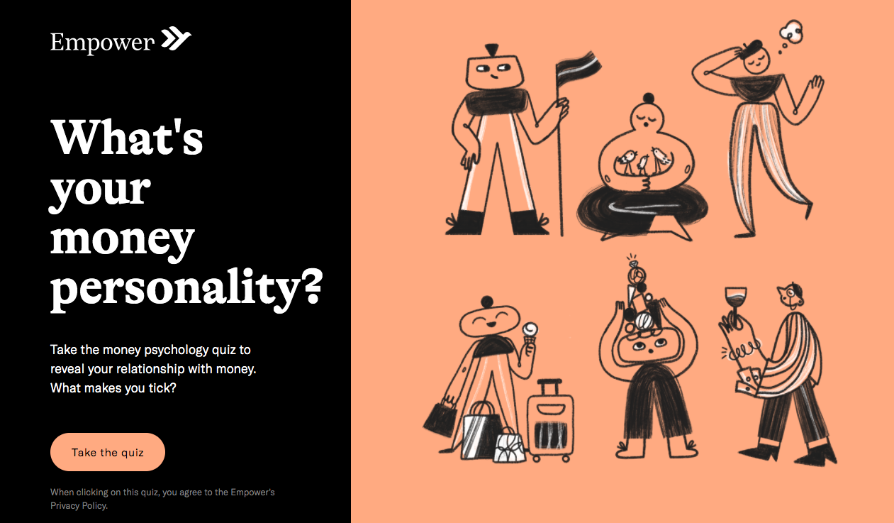 What's your money personality quiz cover with illustrations