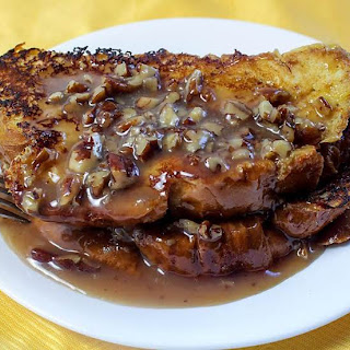Orange French Toast with Pecan Sauce.