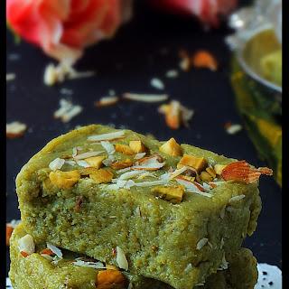 Badam pista burfi ( Almond and pistachio fudge).