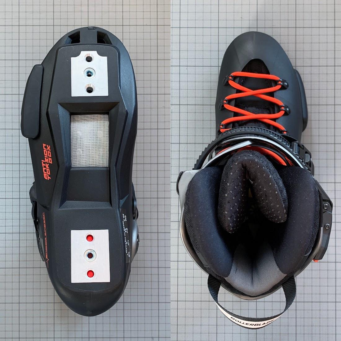 写真3 左:ブーツを下から 下:ブーツを上から