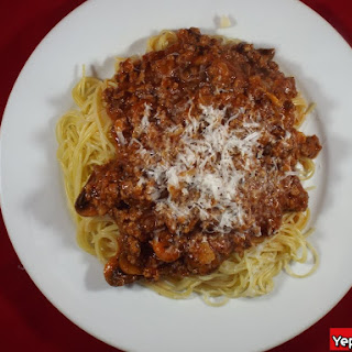 Beef and Mushroom Ragu Over Angel Hair