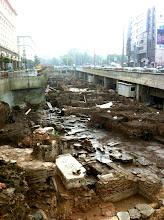 Photo: Sightseeing in the rain in Sofia.  Unearthed an archeological site during construction of metro system.