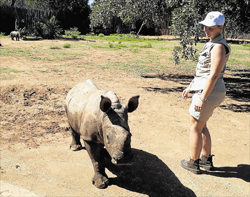NEW CHANCE: Rhino Orphanage manager Yolande van der Merwe and one of the calves which feature in 'The Wild Ones', which begins this Sunday on M-Net at 3pm Picture: BARBARA HOLLANDS