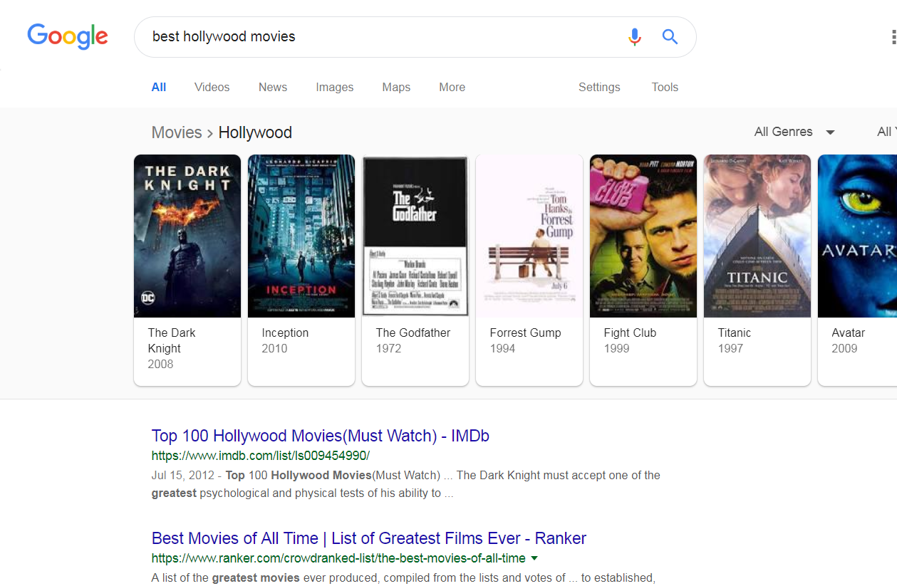 Best hollywood SERP example