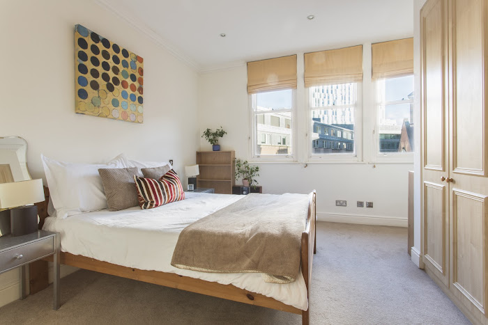 Luxury bedroom at Astral House serviced apartments, Liverpool Street