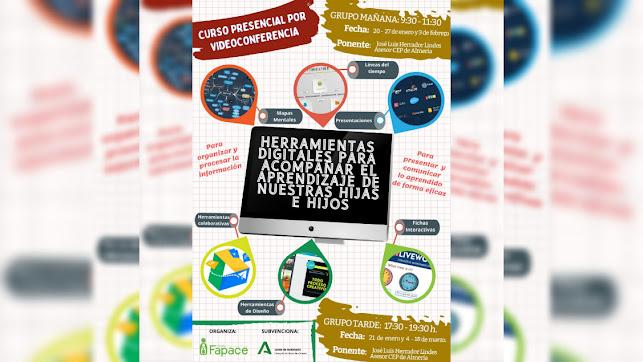 Cartel Curso de FAPACE sobre Herramientas Digitales dirigido a madres, padres o tutores legales.