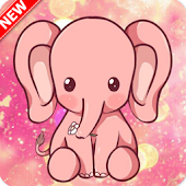 Cartoon Elephant Pink Shiny
