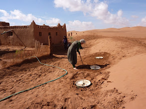 Photo: Cora van Vliet, of Essence College in the Netherlands, helps to replant the Groasis Waterboxx's with new tamarisk grafts. October 2011.