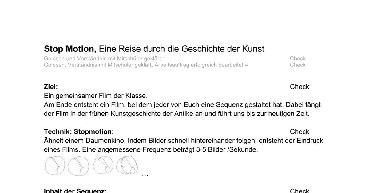 Stop Motion Arbeitsblatt Checkliste - Google Docs