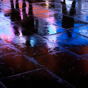dark man by Adrian Konopnicki - City,  Street & Park  Street Scenes ( reflection, reflection shadows, color, street, night, wet, pavement )